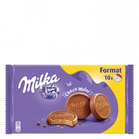 Galletas de barquillo cubiertas de chocolate Choco Wafer Milka 300 g.