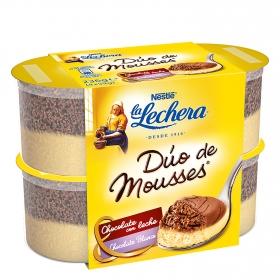 Mousse de chocolate blanco con leche Nestlé La Lechera pack de 4 unidades de 60 g.