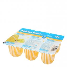 Gelatina sabor limón light Carrefour pack de 6 unidades de 100 g.
