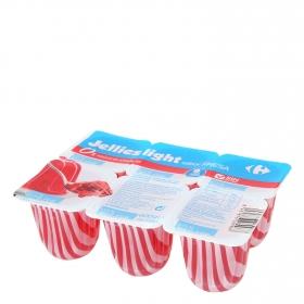 Gelatina sabor fresa light Carrefour pack de 6 unidades de 100 g.