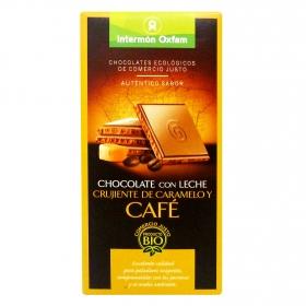 Tableta de chocolate con leche, caramelo y café