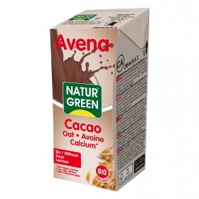 Bebida de avena sabor chocolate con calcio Naturgreen brik 200 ml.