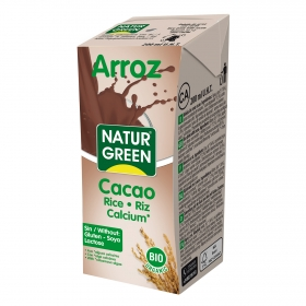Bebida de arroz sabor chocolate con calcio ecológica Naturgreen brik 200 ml.