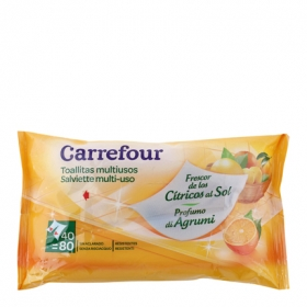 Toallitas multiusos aroma cítricos Carrefour 40 ud.