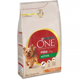Purina ONE MINI Active Pienso para Perro Adulto Pollo y Arroz 1,5Kg