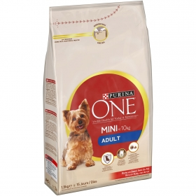 Purina ONE MINI Pienso para Perro Adulto Buey y Arroz 1,5Kg