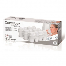 Set 6 Filtros de agua con Microparticulas CARREFOUR HOME - Blanco