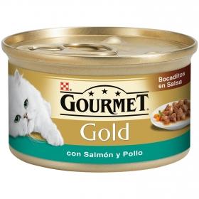 Comida para gatos Bocaditos en Salsa con Salmón y Pollo