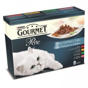 Comida para gatos Finas Láminas en Salsa con Buey, Pollo, Conejo y Salmón