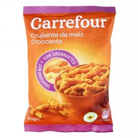 Aperitivo de maíz crujiente con cacahuetes Carrefour 90 g.