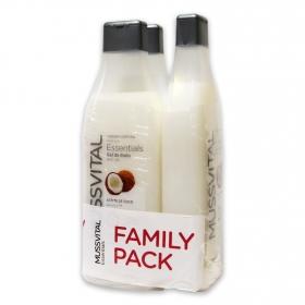 Gel aceite de coco Essentials Hipoalergénico Mussvital pack de 3 unidades de 750 ml.