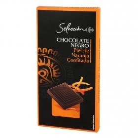 Chocolate negro con piel de naranja confitada Carrefour Selección 100 g.