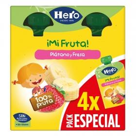 Zumo de plátano y fresa Hero pack de 4 bolsitas de 100 g.