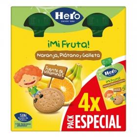 Preparado de naranja, plátano y galleta sin azúcar añadido Hero Mi fruta sin aceite de palma pack de 4 bolsitas de 100 g.