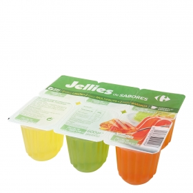 Gelatina de sabores Carrefour pack de 6 unidades de 100 g.