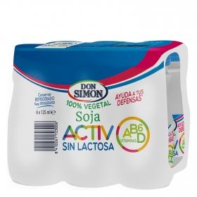 Bebida de soja Activ Don Simón sin lactosa pack de 6 unidades de 125 ml.