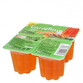 Gelatina sabor naranja Carrefour pack de 4 unidades de 100 g.