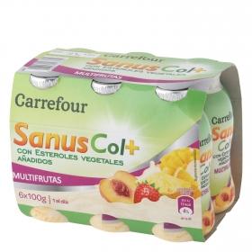 Yogur líquido de multifrutas SanusCol+ Carrefour  pack de 6 unidades de 100 g.
