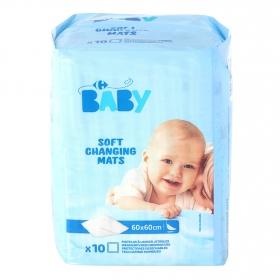 Protector de cama 60x60 cm. Carrefour Baby 10 ud.