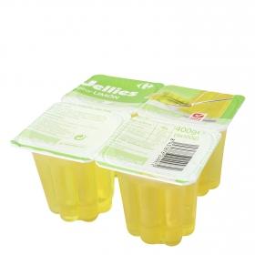 Gelatina sabor limón Carrefour pack de 4 unidades de 100 g.