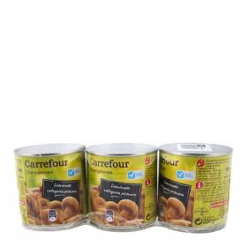 Champiñones laminados bajos de sal Carrefour pack de 3 unidades de 115 g.
