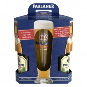 Cerveza Paulaner Hefe-WeiBbier pack de 5 botellas + regalo vaso