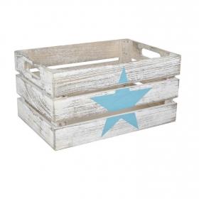 Caja de madera extrella  31 x 21 x 16 cm - Blanco