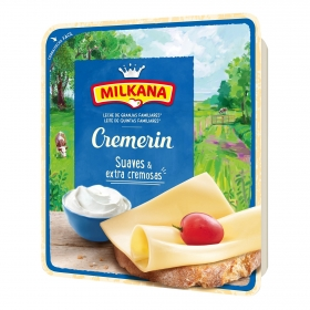 Queso en lonchas suave y extra cremoso Cremerin Milkana 130 g.