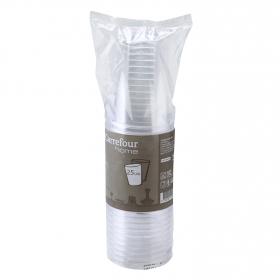 25 Vasos de Plástico CARREFOUR HOME  7,78x26,13cm - Transparente