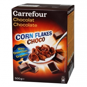 Cereales de maíz con chocolate Corn Flakes Carrefour 500 g.