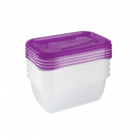 Set de Recipiente Rectangular de Plástico  0,5 L Transparente