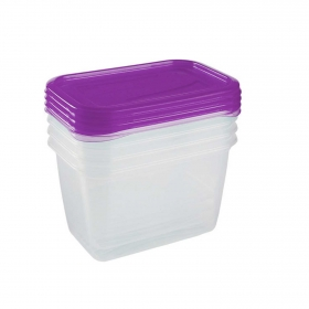 Set de Recipiente Rectangular de Plástico  0,75 L Transparente