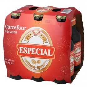 Cerveza Carrefour especial pack de 6 botellas de 25 cl.