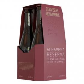 Cerveza Alhambra Reserva tostada roja pack de 4 botellas de 33 cl.