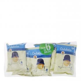 Patatas fritas onduladas Carrefour pack de 6 unidades de 35 g.