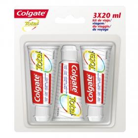 Dentífrico Total pack de viaje tubo Colgate pack de 3 unidades de 20 ml.