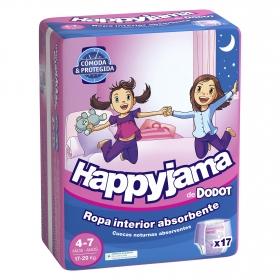Ropa interior absorvente niña noche Dodot Happyjama 4-7 años (17-29 kg.) 17 ud.