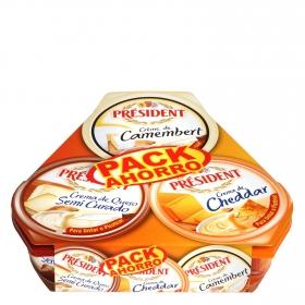 Lote de quesos crema Président pack de 3 unidades de 125 g.