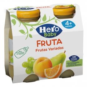 Tarrito de frutas variadas desde 4 meses sin azúcar añadido Hero Baby pack de 2 unidades de 130 g.