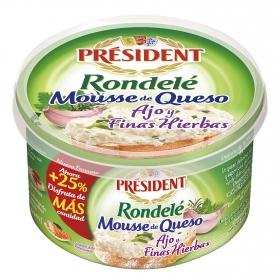 Mousse de queso, ajo y finas hierbas Rondelé Président 125 g.