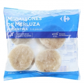 Medallones de merluza argentina Carrefour 480 g.