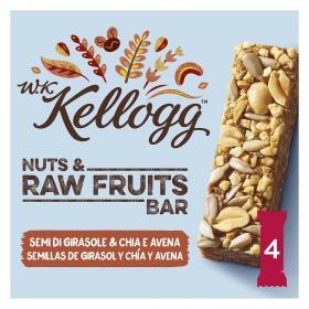 Barritas de cereales con semillas de girasol, chía y avena W.K Kellogg 4 unidades de 30 g.