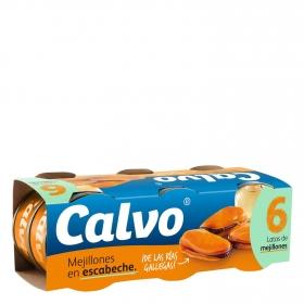 Mejillones de las rías gallegas en escabeche Calvo pack de 6 unidades de 40 g.