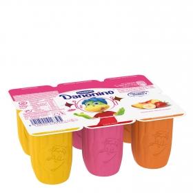 Petit de fresa, plátano y albaricoque Danone Danonino sin gluten pack de 6 unidades de 50 g.