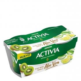 Yogur bifidus natural con kiwi, lima y aloe vera Danone Activia pack de 2 unidades de 115 g.