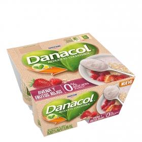 Yogur de avena y frutos rojos Danone Danacol pack de 4 unidades de 125 g.