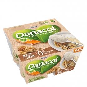 Yogur de nueces y avena Danone Danacol pack de 4 unidades de 125 g.