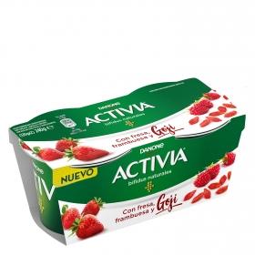 Yogur bifidus natural con fresa, frambuesa y goji Danone Activia pack de 2 unidades de 115 g.