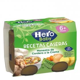 Tarrito de menestra de cordero a la crema desde 6 meses Hero Baby pack de 2 unidades de 190 g.
