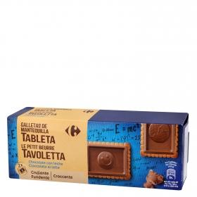 Galletas con tableta de chocolate y leche Carrefour 150 g.